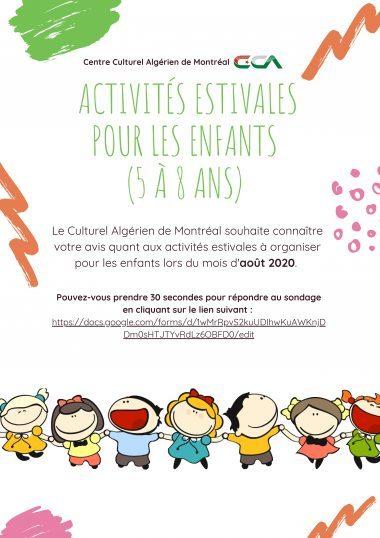 Sondage: ACTIVITÉS ESTIVALES POUR LES ENFANTS (5 À 8 ANS)