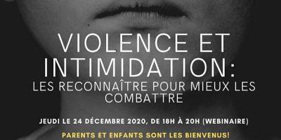 Atelier: Violence et intimidation – Les reconnaître pour mieux les combattre